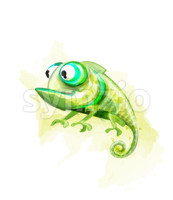 Chameleon funny cartoon character Vector. Cute reptile with big eyes Stock Vector