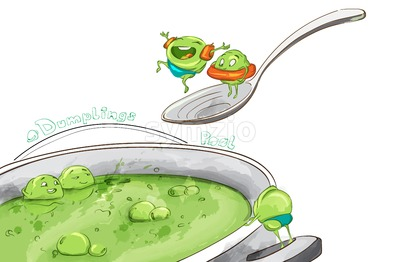 Dumpling soup funny cartoon Vector. Inspirational illustration. Cuisine menu template Stock Vector