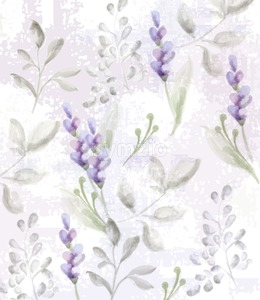 Lavender pattern Vector watercolor. Provence flowers delicate texture or fabric Stock Vector