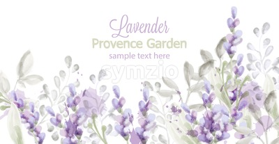 Lavender card Vector watercolor. Provence flowers banner background Stock Vector
