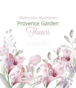 Provence flowers garden Vector watercolor. Lavender card delicate pastelate color Stock Vector