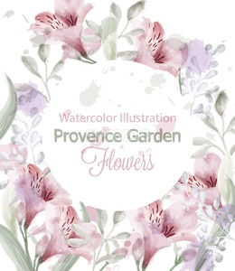 Provence flowers wreath Vector watercolor. Lavender delicate pastelate color Stock Vector