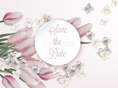 Pink tulips card Vector. Wedding, save the date, ceremony, birthday invitation Stock Vector