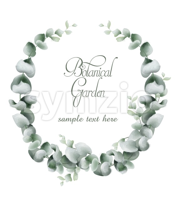 Green leaves wreath card Vector watercolor. Botanical eco leaf branches decor Stock Vector