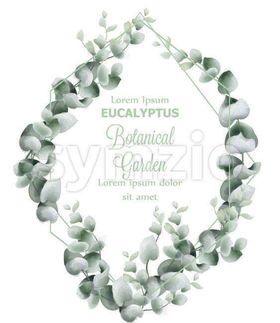 Green leaves wreath card Vector watercolor. Botanical eco leaf branches decor