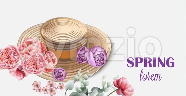 Spring hat with flowers Vector. Seasonal card background Stock Vector