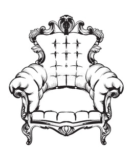 Baroque armchair Vector. Royal style decotations. Victorian ornaments engraved. Imperial furniture decor illustrations line art Stock Vector