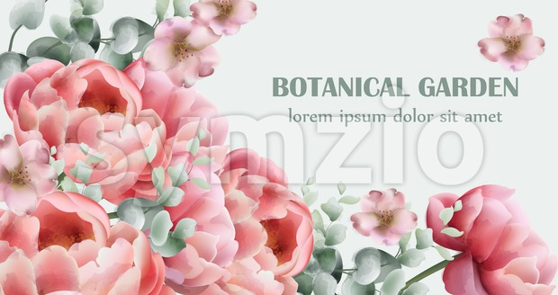Peony flowers bouquet card Vector watercolor. colorful seasonal decor background Stock Vector