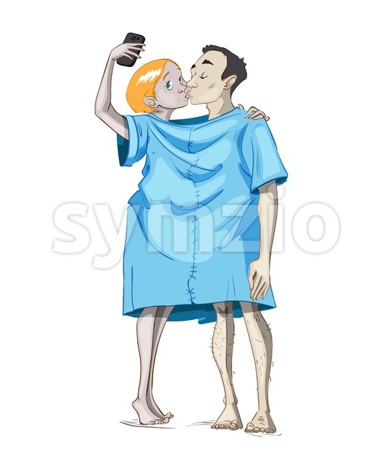 Couple kissing selfie Vector cartoon characters illustrations having fun Stock Vector