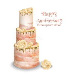 Pink wedding cake with flowers Vector watercolor. Vintage delicious white cake with decoration Stock Vector