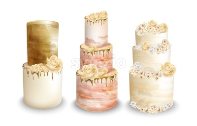 Wedding cakes Vector watercolor. Vintage delicious cakes set Stock Vector