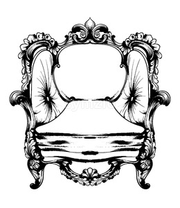 Royal chair Vector. Royal style decotations. Victorian ornaments engraved. Imperial furniture decor illustrations line art Stock Vector