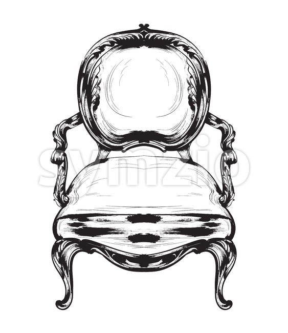 Baroque chair Vector. Royal style decotations. Victorian ornaments engraved. Imperial furniture decor illustrations line art