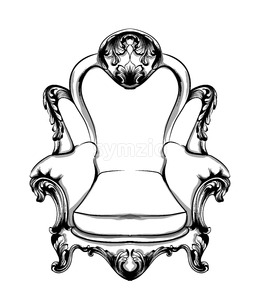 Classic armchair Vector. Royal style decotations. Victorian ornaments engraved. Imperial furniture decor illustration line art Stock Vector