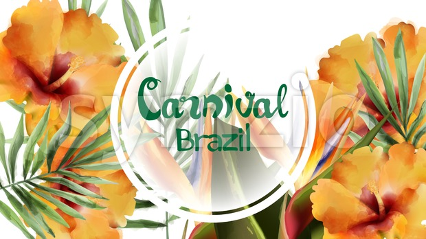 Tropic flowers exotic frame Vector watercolor. Brazil carnival festival design template