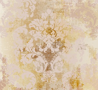 Vector rococo pattern texture. Damask ornament grunge background. Vintage royal fabric rust effect. Victorian exquisite floral template golden color Stock Vector