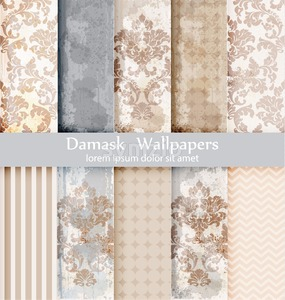 Vector rococo pattern textures set. Damask ornament grunge backgrounds. Vintage royal fabric rust effect. Victorian exquisite floral templates trendy Stock Vector