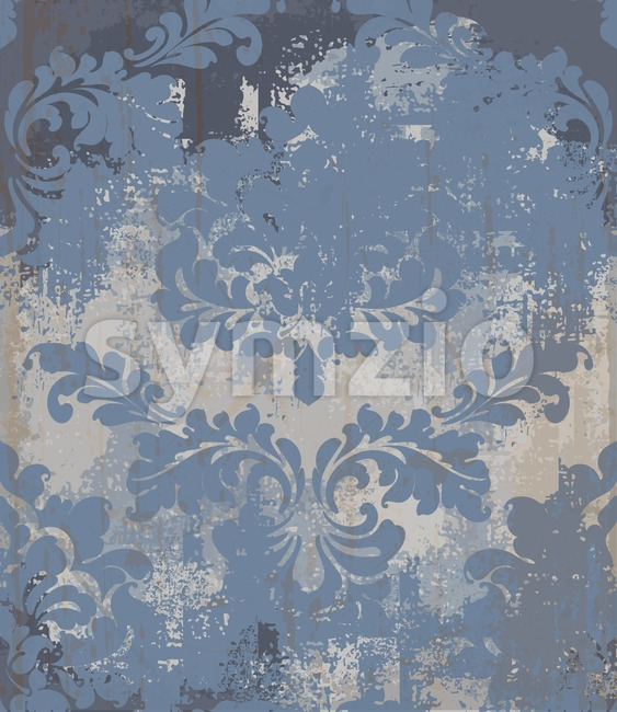 Vector rococo pattern texture. Damask ornament grunge background. Vintage royal fabric rust effect. Victorian exquisite floral template blue color Stock Vector
