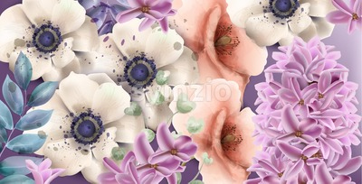 Spring flowers watercolor Vector. Vintage composition bouquet. Gerbera, lilac and pink poppy floral decor Stock Vector