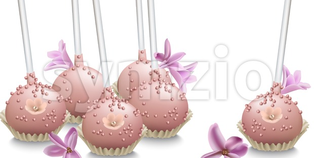 Delicious sweets. Summer wedding confectionary bakery treats Vector illustration