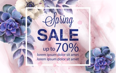 Spring sale banner with blue flowers and marble background Vector watercolor Stock Vector