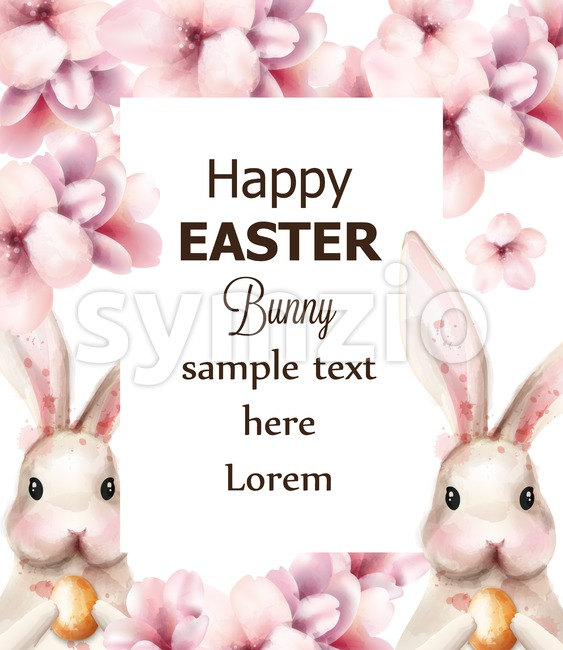 Easter bunny rabbit and cherry flowers Vector. Cute pet holiday card on white background Stock Vector