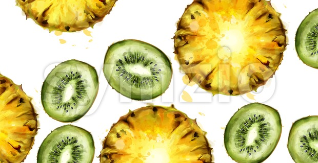 Kiwi and pineapple pattern Vector watercolor. Summer texture background Stock Vector