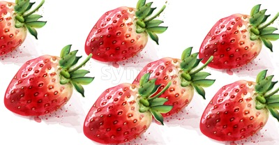 Strawberry pattern Vector watercolor. Fresh fruit texture Stock Vector