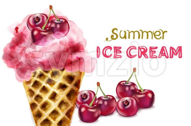 Summer ice cream cone with cherry watercolor Vector. Colorful juicy dessert