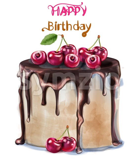 Happy birthday delicious cherry cake Vector watercolor. Card decor
