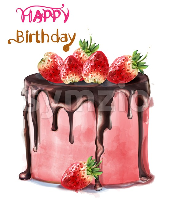 Happy birthday delicious strawberry cake Vector watercolor. Card decor