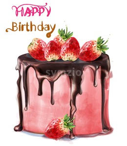Happy birthday delicious strawberry cake Vector watercolor. Card decor Stock Vector