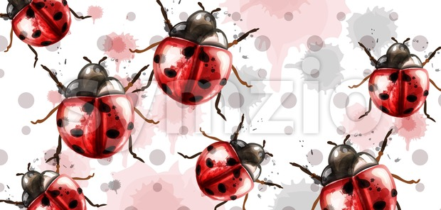 Ladybugs pattern texture watercolor Vector background. Retro style card Stock Vector