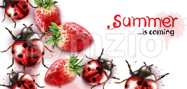 Summer season with strawberry and ladybugs Vector watercolor card Stock Vector