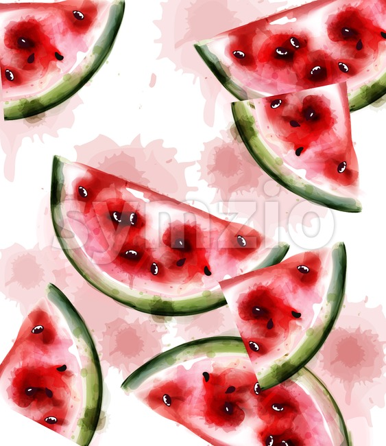 Watermelon Vector watercolor texture. Fruits pattern background