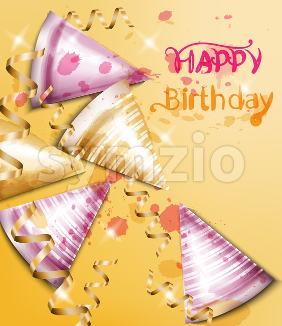 Happy birthday card with party hats Vector watercolor. Invitation template Stock Vector