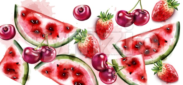 Watermelon and cherry Vector watercolor texture. Fruits pattern background Stock Vector