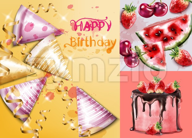 Happy birthday card with cake and birthday hats Vector watercolor. Invitation party template Stock Vector