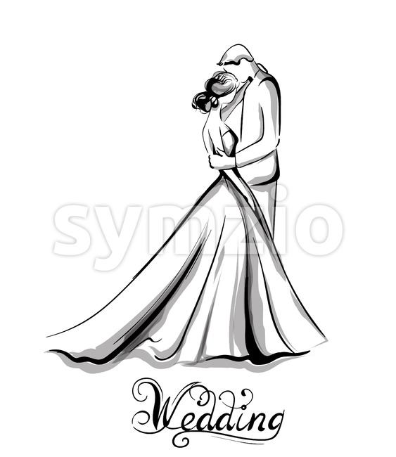 Wedding couple silhouette Vector line art. Beautiful bride and groom. Template for design card Stock Vector