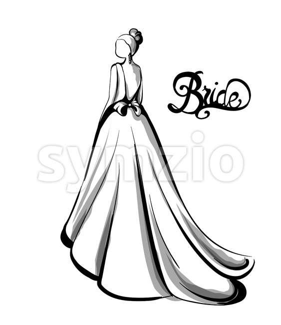 Wedding bride silhouette Vector line art. Beautiful long dress . Template for design card