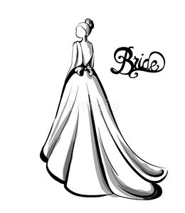 Wedding bride silhouette Vector line art. Beautiful long dress . Template for design card Stock Vector