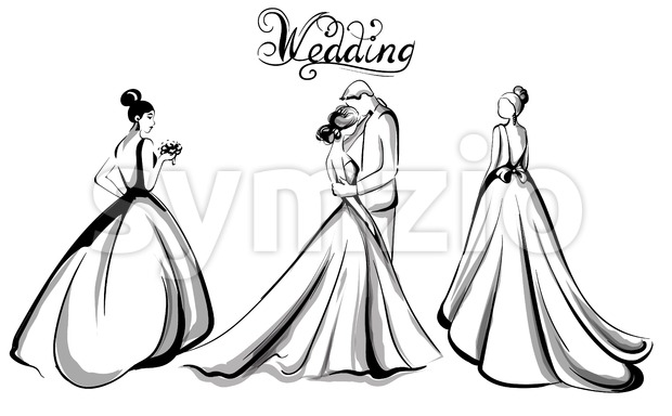 Wedding couple silhouette Vector line art. Beautiful brides, long dresses . Template for design card Stock Vector