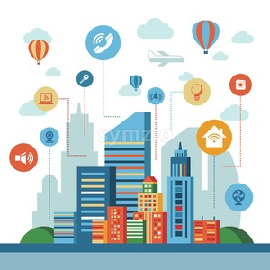 Smart city technology icons infographics collection, digital vector advert Stock Vector