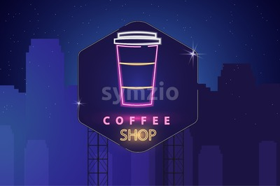 Drink menu neon billboard Vector. Glowing Fastfood cola light billboard symbol. Cafe menu template Stock Vector