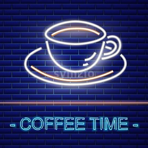Coffee shop neon sign Vector. Glowing coffee cup symbol dark background. Cafe menu template Stock Vector