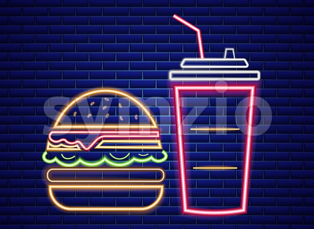Fast food lunch menu neon billboard Vector. Glowing Fastfood light billboard symbol. Cafe menu template