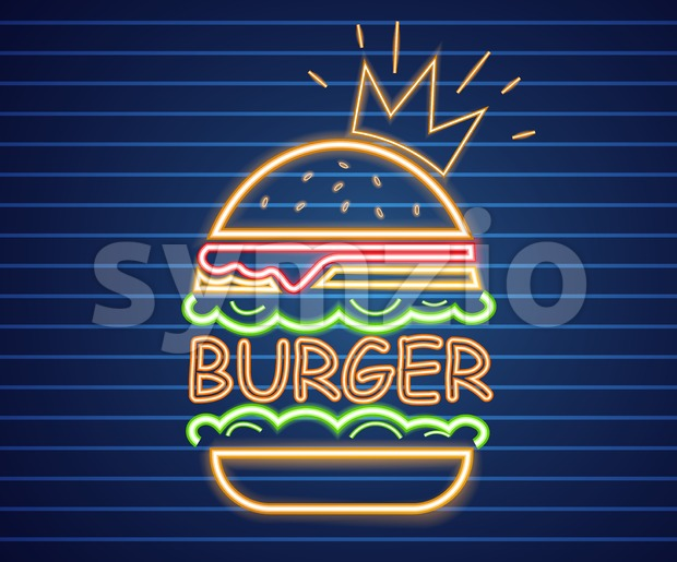 Neon king burger Vector poster. Glowing sign fastfood light billboard symbol. Cafe menu item Stock Vector