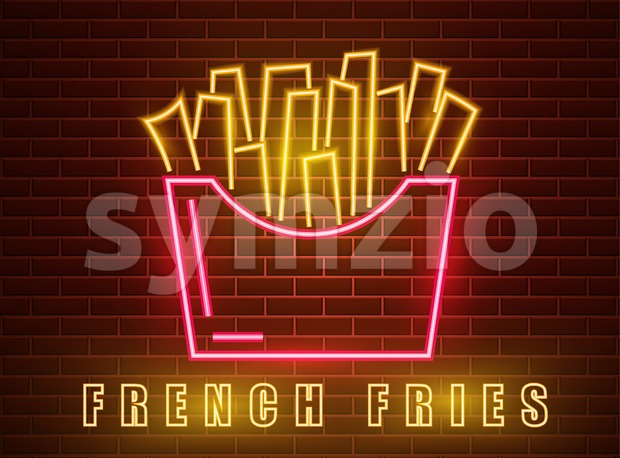 Neon fries Vector poster. Glowing sign dark city background. Fastfood light billboard symbol. Cafe menu item Stock Vector