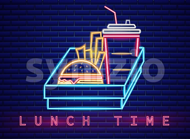 Fast food lunch menu neon billboard Vector. Glowing Fastfood light billboard symbol. Cafe menu template Stock Vector