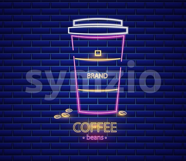 Coffee shop neon sign Vector. Glowing coffee cup to go symbol dark background. Cafe menu template Stock Vector